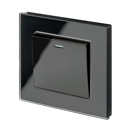 RetroTouch 1 Gang Intermediate 10A Rocker Light Switch Black Glass PG 00204